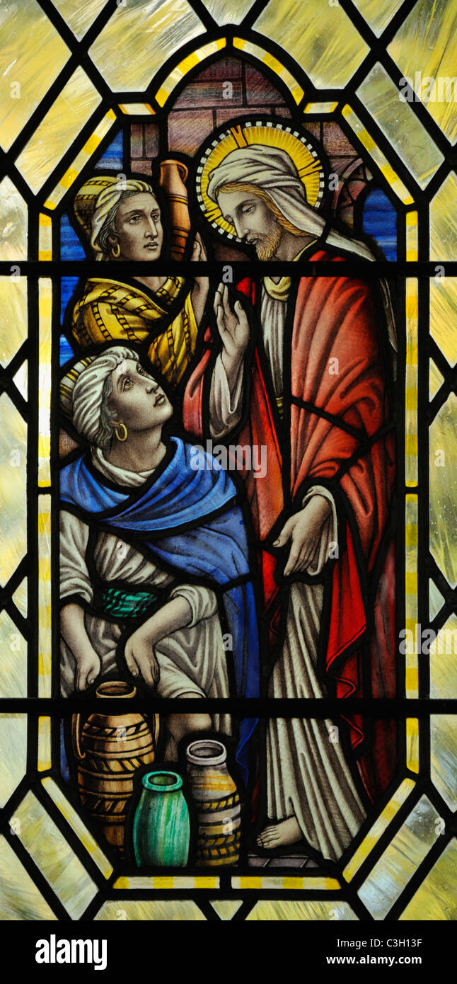 """The wedding feast at Cana"", detail of window. Church of Saint John. Levens, Cumbria, England, United Kingdom, Europe. Stock Photo"