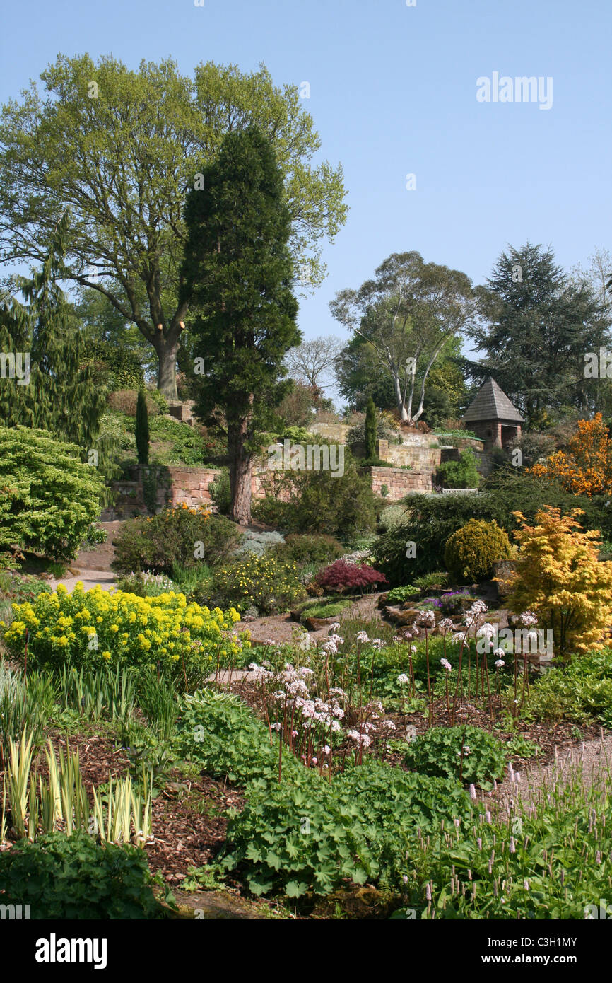 View Of The Rock Garden At Ness Botanical Gardens, Wirral, UK   Stock Image