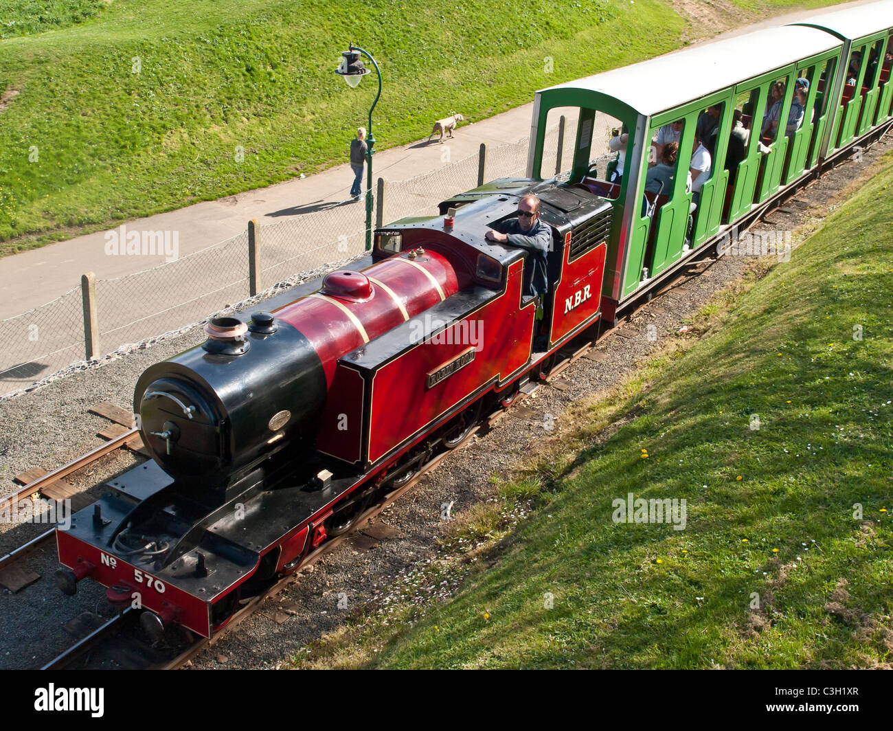 Locomotive Robin Hood on North Bay miniature railway Scarborough Yorkshire UK - Stock Image