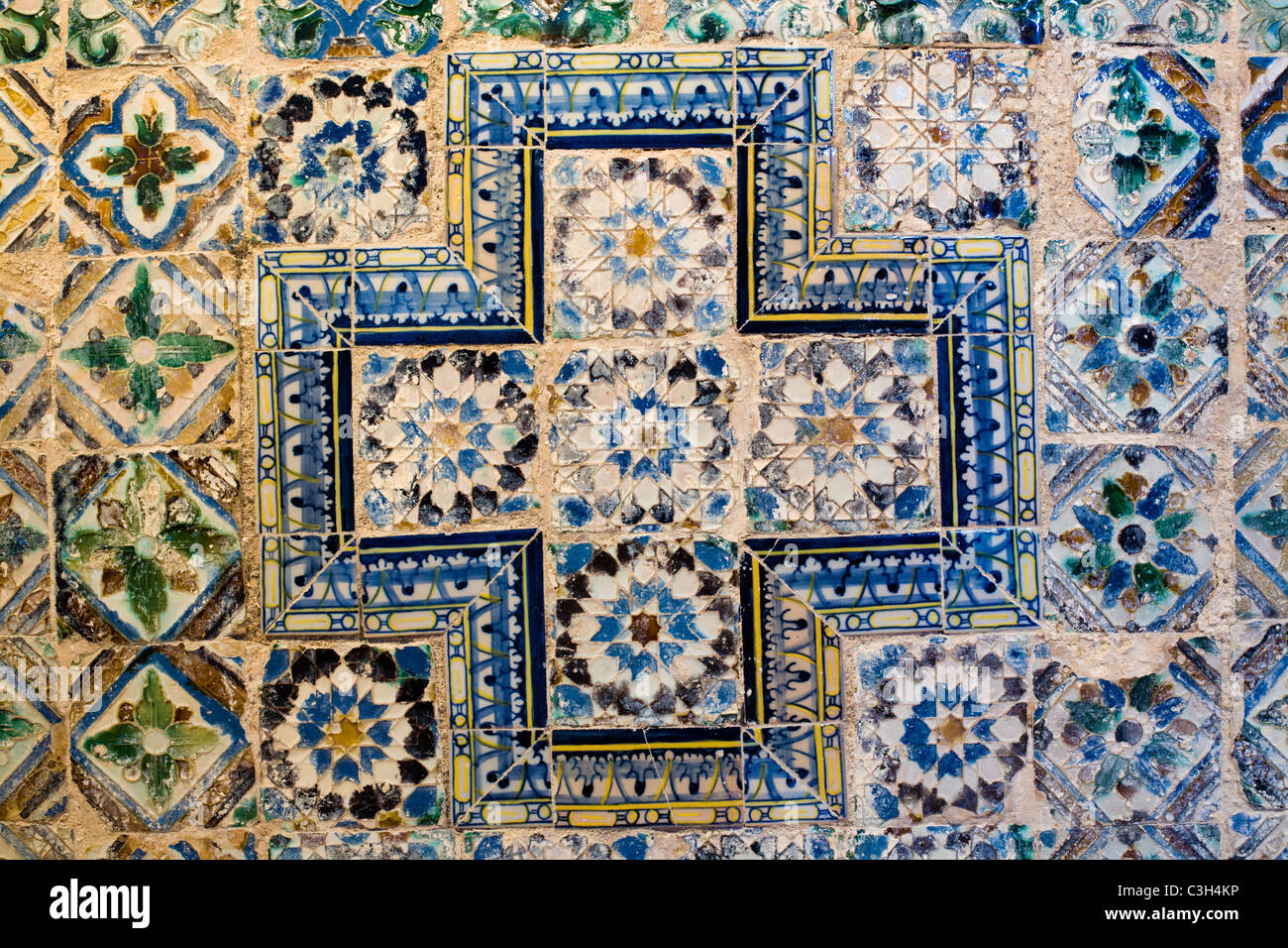 Azulejos from 16th century, Sobral, Portugal - Stock Image