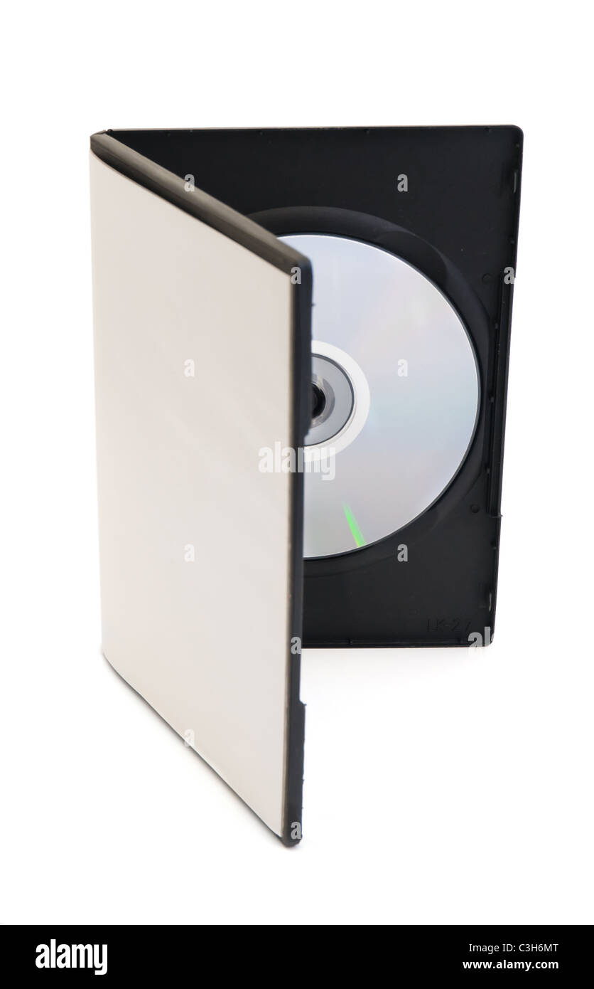 disk and a blank box for the disk are on white background - Stock Image
