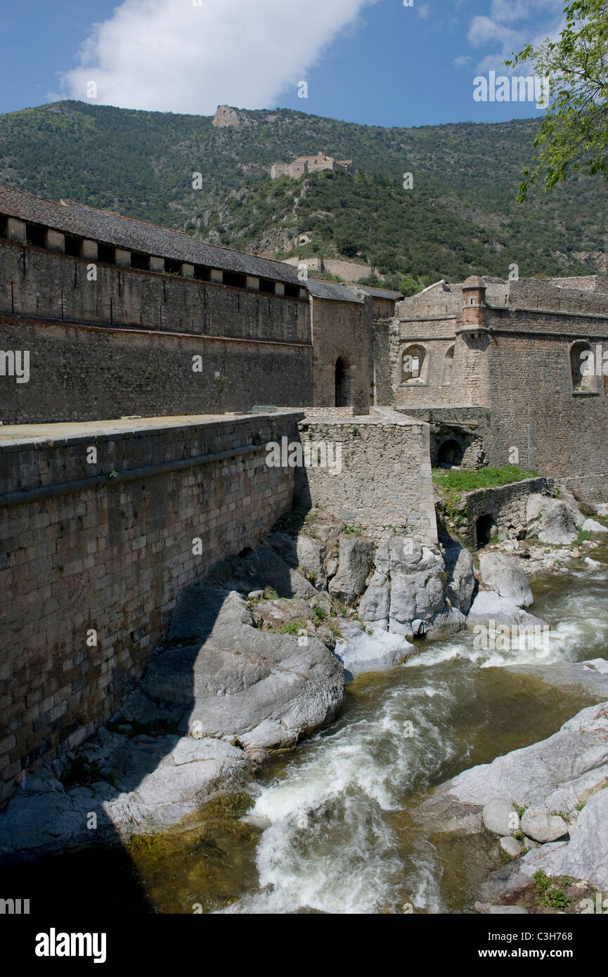 Fortifications of Villefranche-de-Conflent and Fort Liberia in the French Pyrenees near Prades, Languedoc-Roussillon Stock Photo