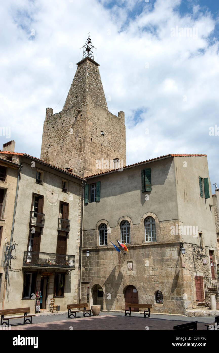The 'Mairie' at the main square of Villefranche-de-Conflent in the French Pyrenees mountains of  Occitanie - Stock Image