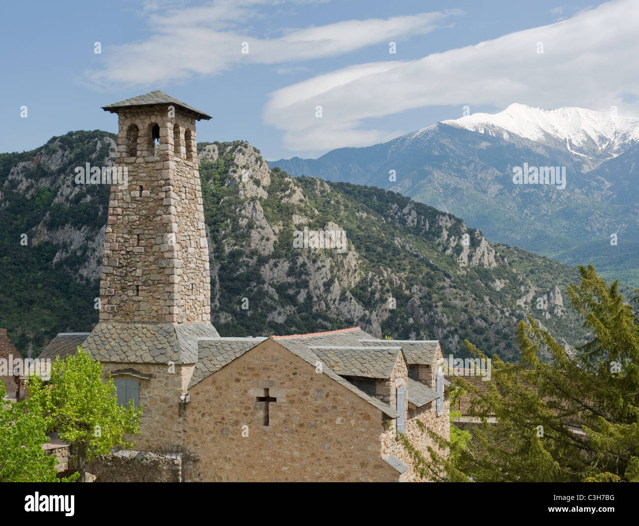 The church at Fort Liberia in Villefranche-de-Conflent in Pyrénées Orientales in Languedoc-Roussillon - Stock Image