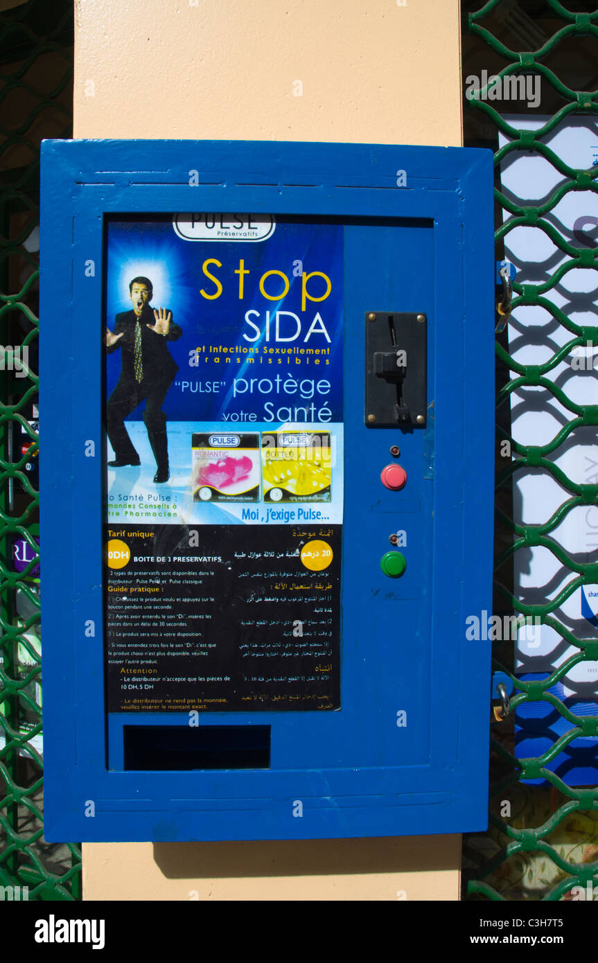 Condom vending machine Casablanca central Morocco northern Africa - Stock Image