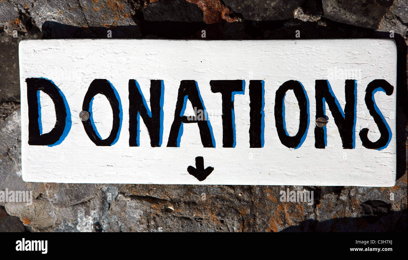 Donations sign - Stock Image