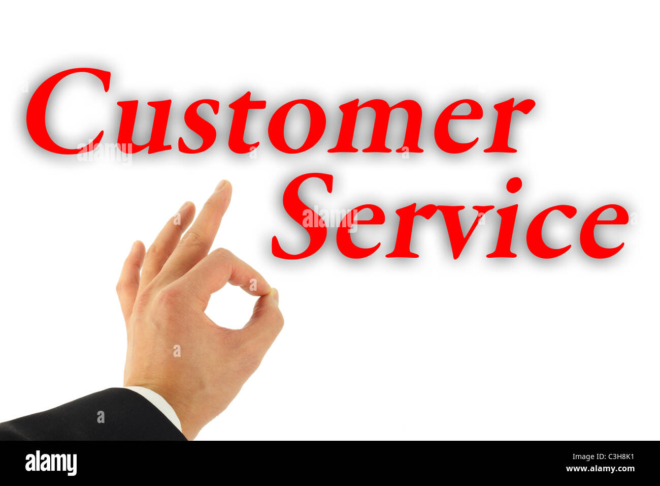 Excellent Customer Service concept with hand okay sign isolated on white - Stock Image