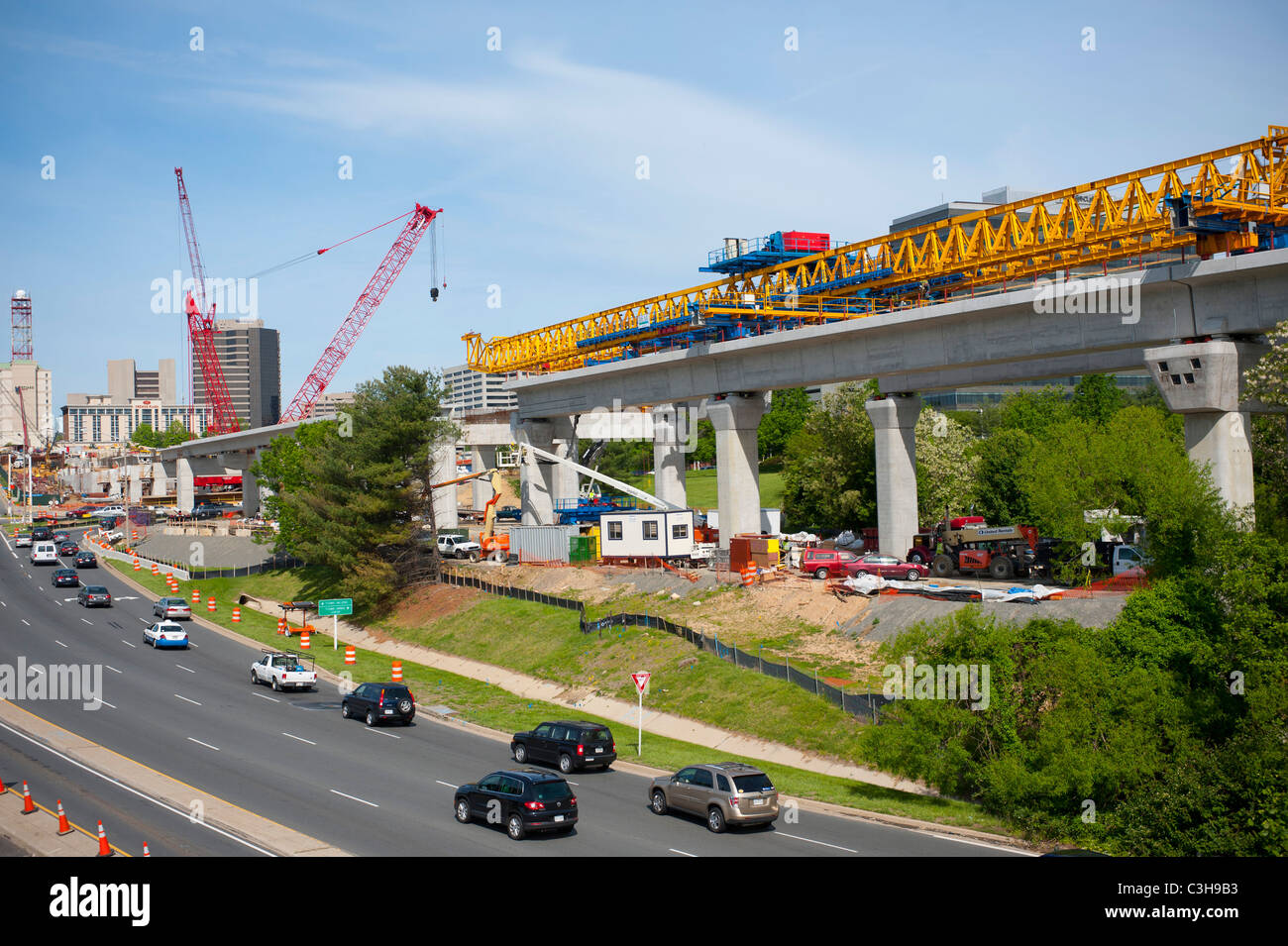 Mass transit light rail under construction in Tysons Corner Virginia VA pubic transportation subway - Stock Image