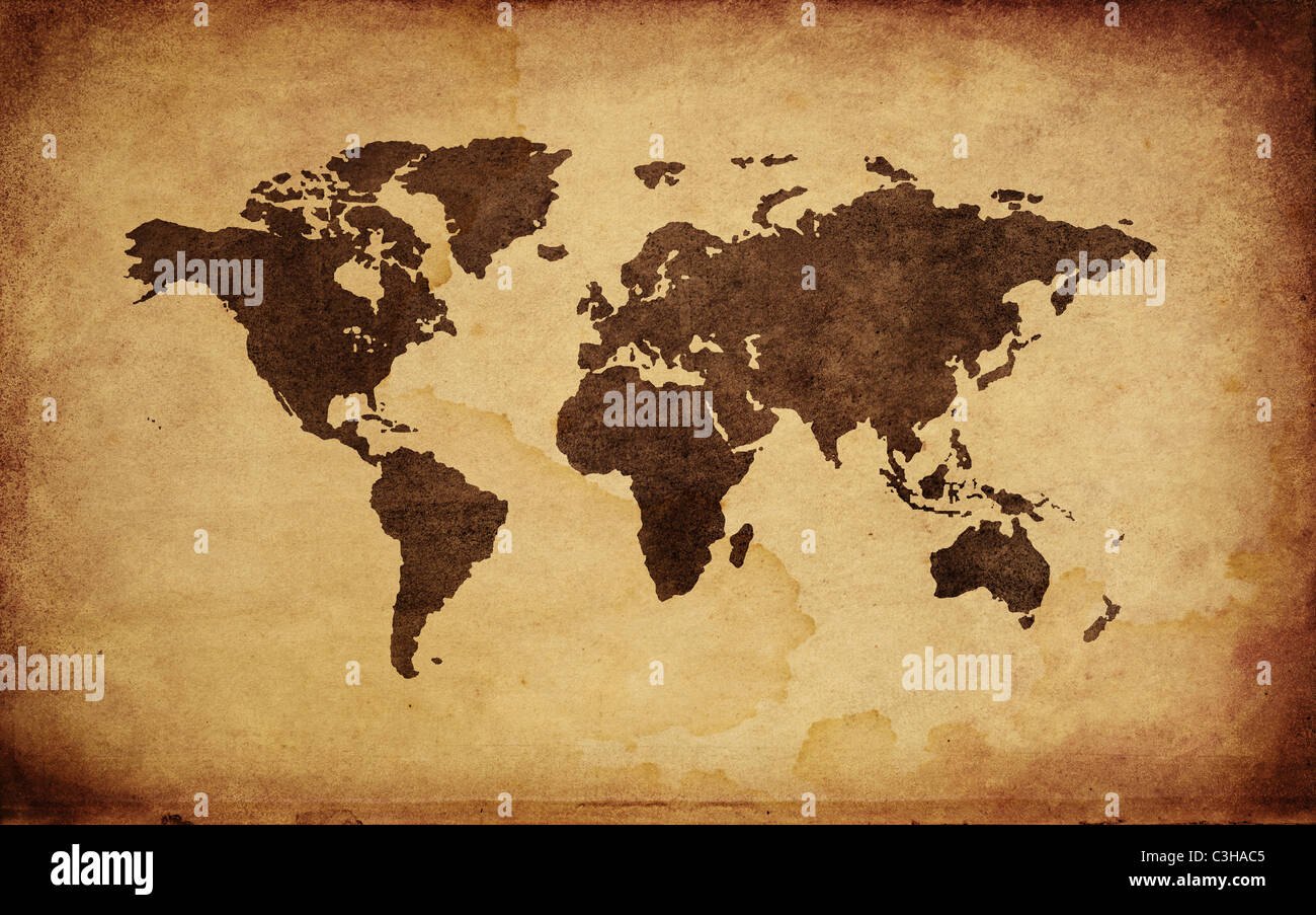 Close up of antique world map - Stock Image