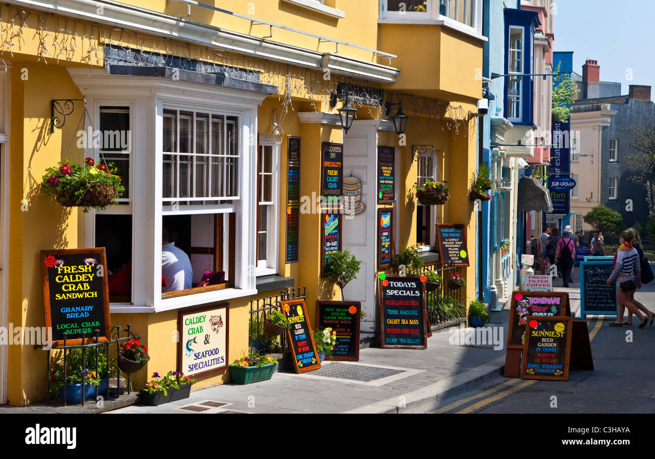 Pubs and restaurants, Tenby, Pembrokeshire West Wales UK - Stock Image