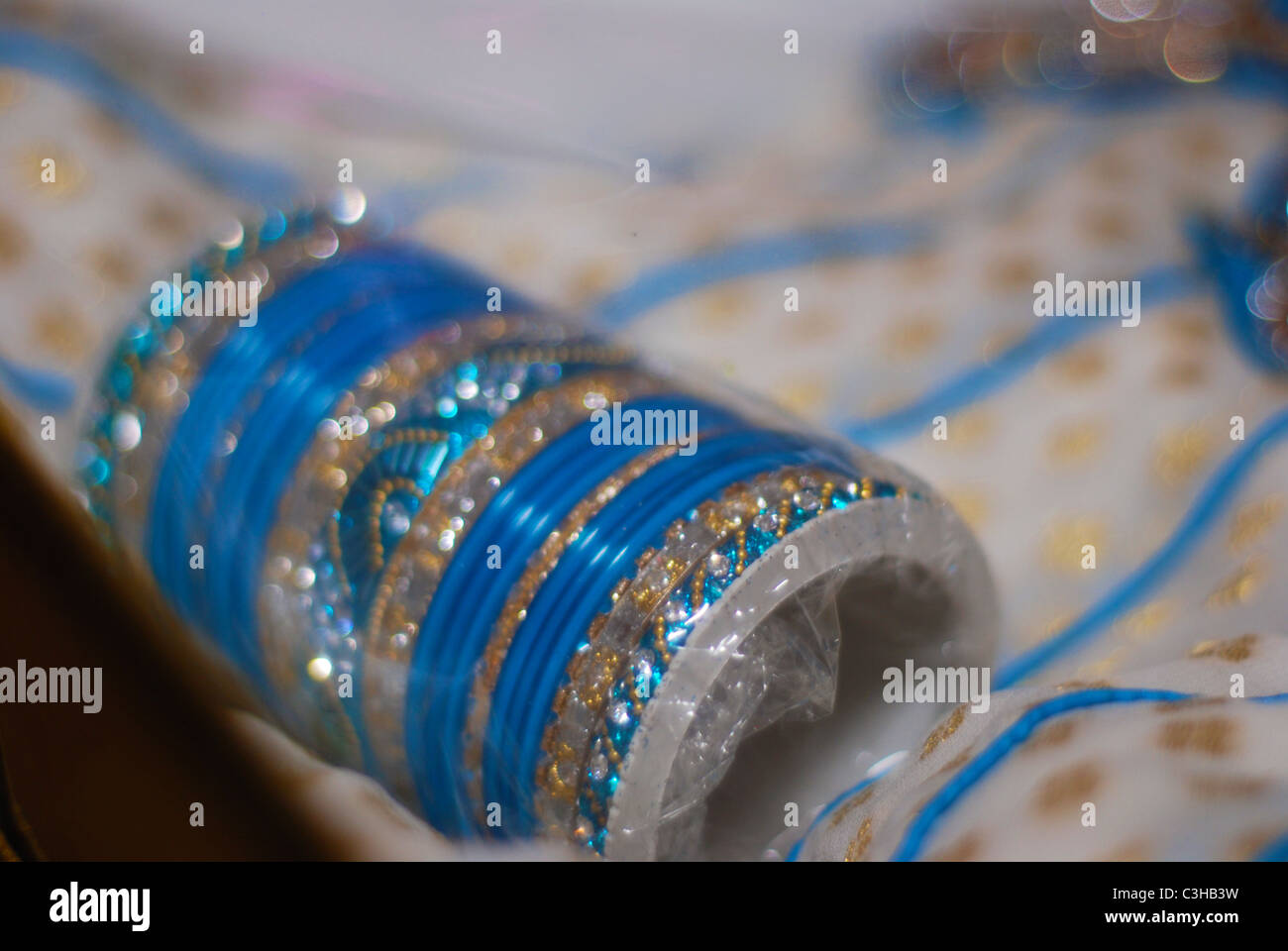 Colourful Glass Bangles as Gifted to a Muslim Bride - Stock Image