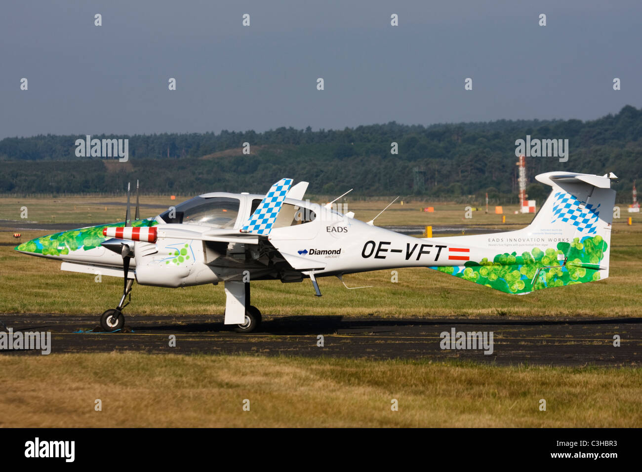 Diamond Aircraft Industries bio-fuel powered Diamond DA-42 Twin Star aircraft at Farnborough International Airshow. - Stock Image