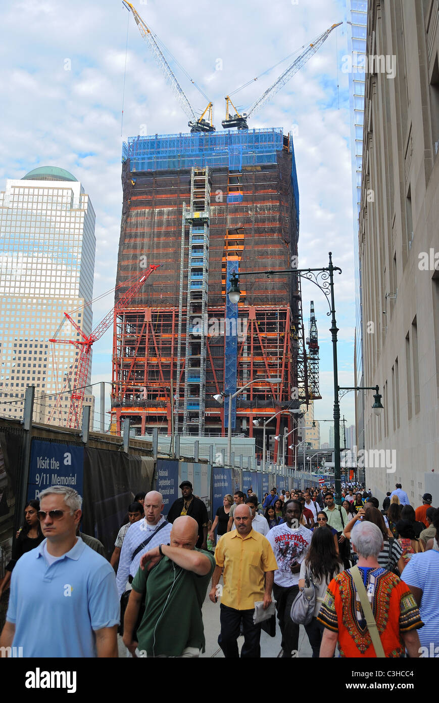 The ongoing construction on the Freedom Tower at the World Trade Center in New York City. September 3, 2010. - Stock Image