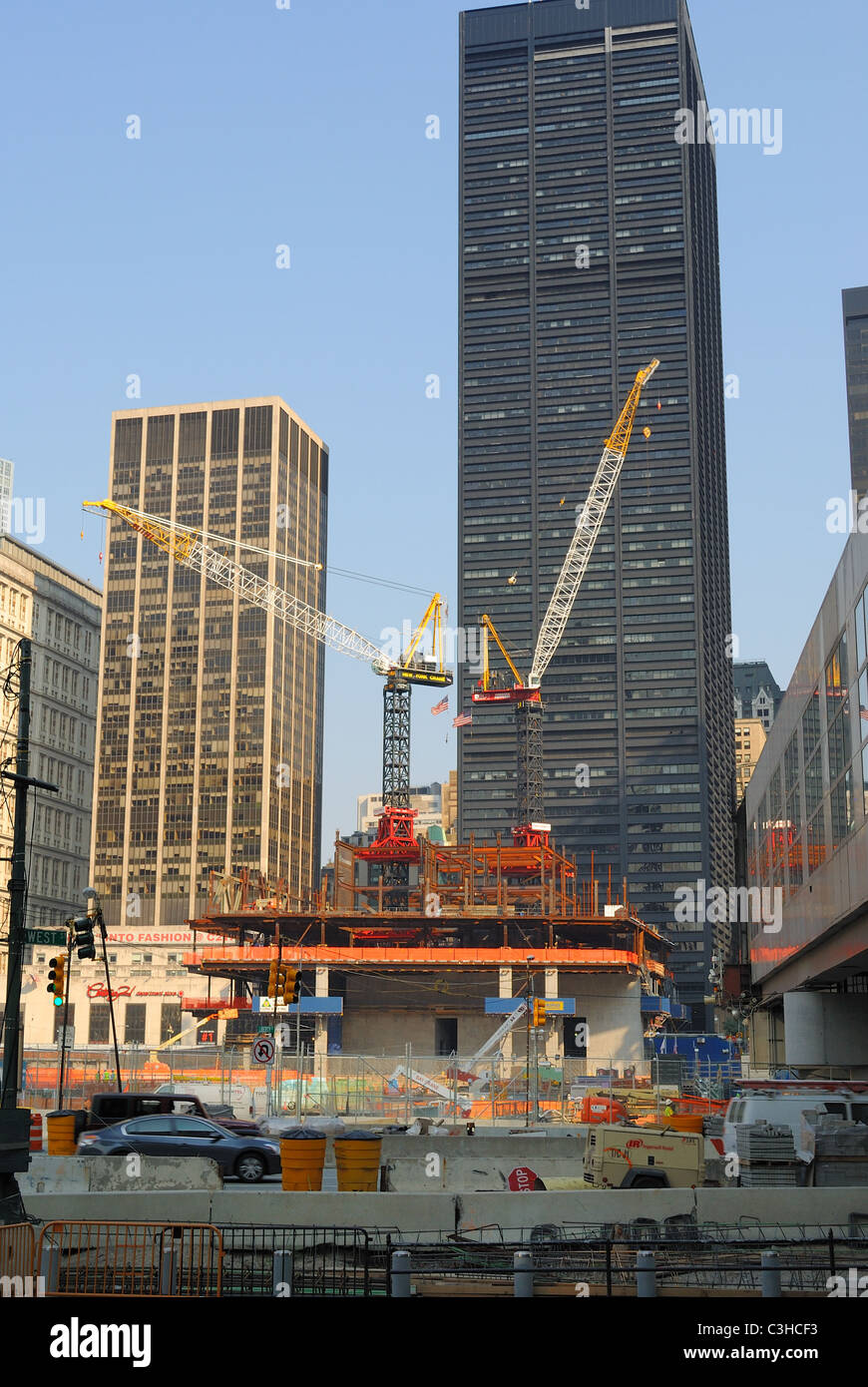 The ongoing construction at the the World Trade Center in New York City. September 1, 2010. - Stock Image