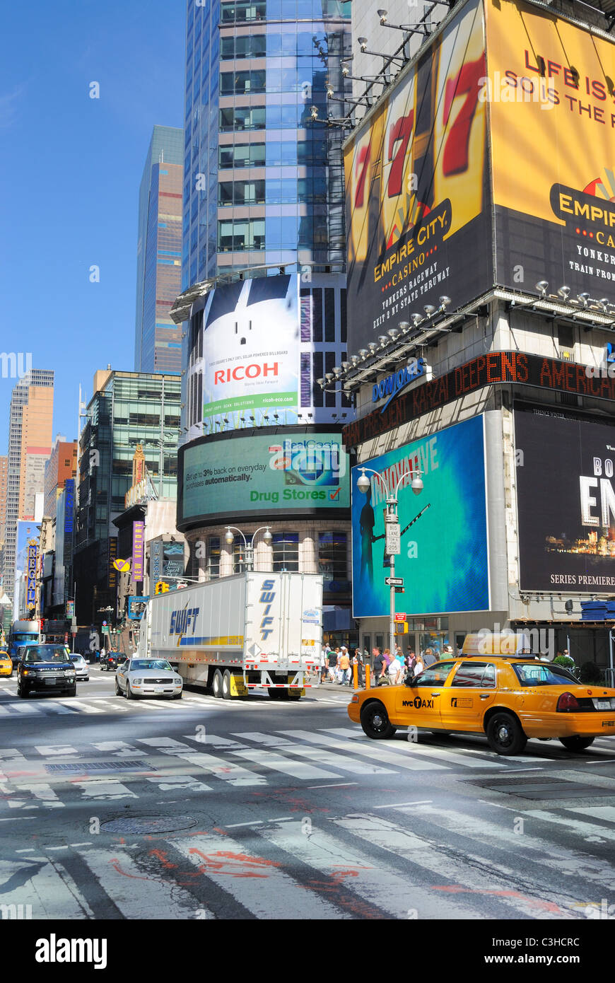 Intersection of 42nd Street and Broadway in famous New York City. - Stock Image