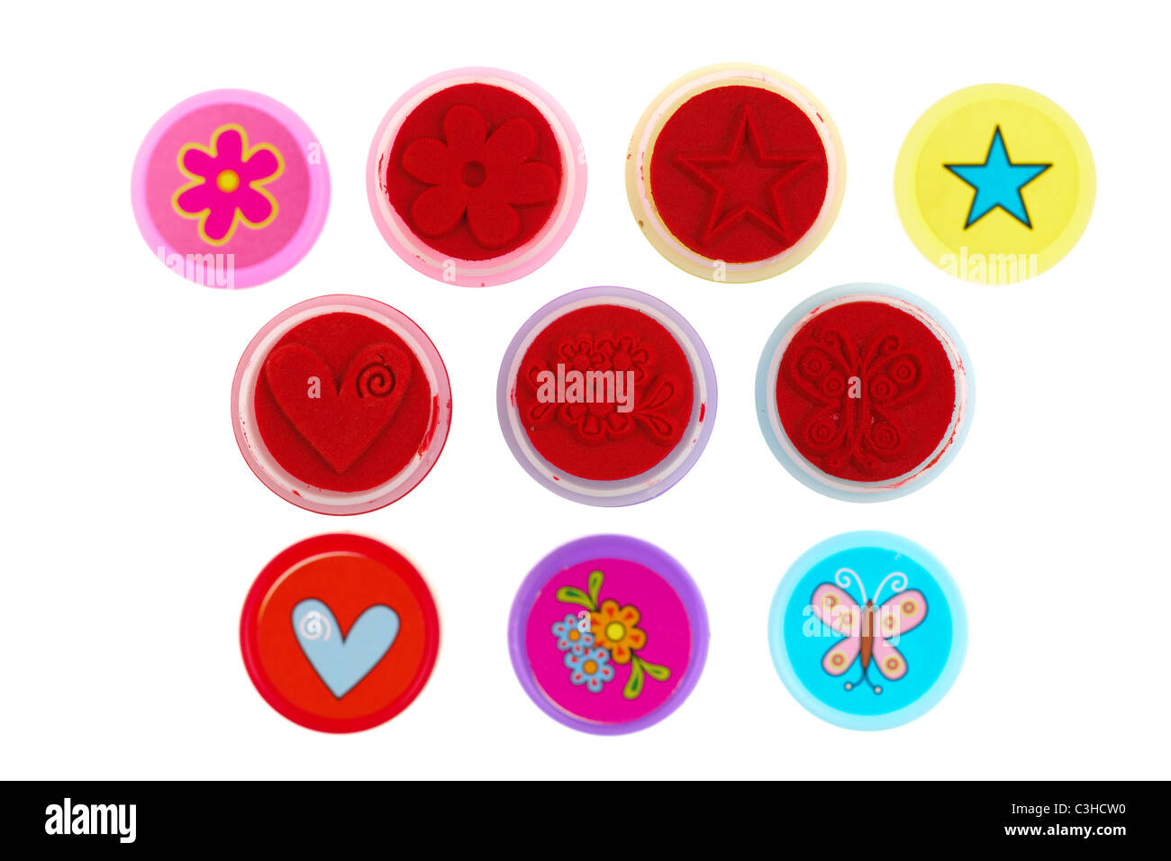 Kiddies felt stamps with matching tops - Stock Image
