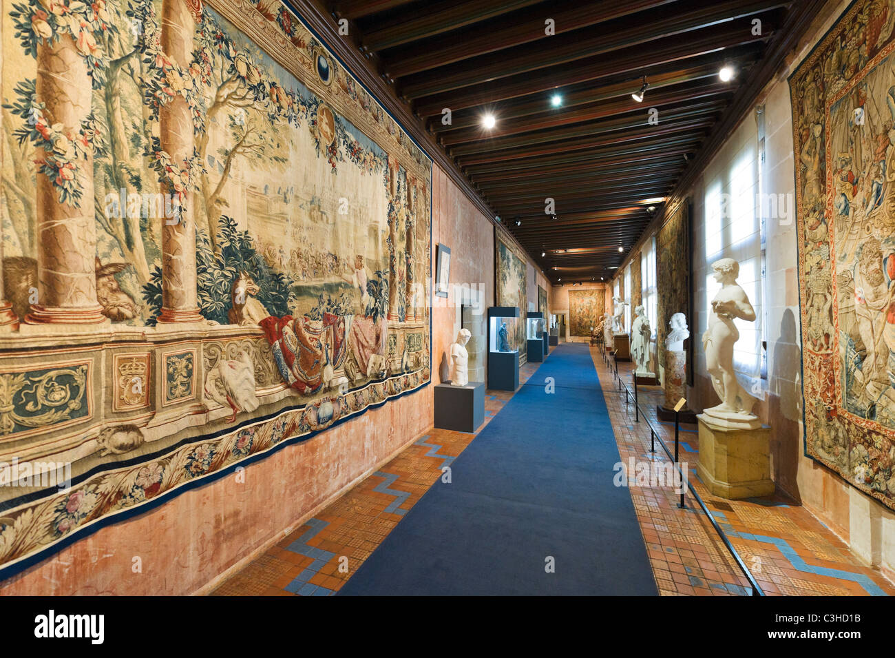 Corridor in the Fine Arts Museum (formerly the Royal Apartments), Louis XII wing, Chateau de Blois, Loire Valley, - Stock Image