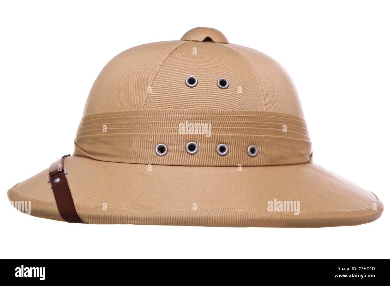 b613a88a38b64 Photo of a pith helmet cut out on a white background - Stock Image