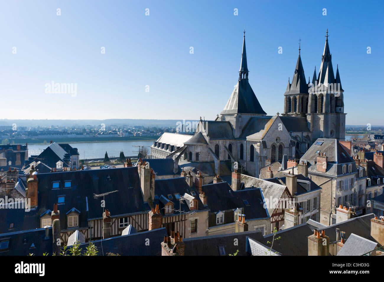 View over the town towards the river and Eglise Saint Nicolas from walls of the Chateau, Blois, Loire Valley, Touraine, Stock Photo