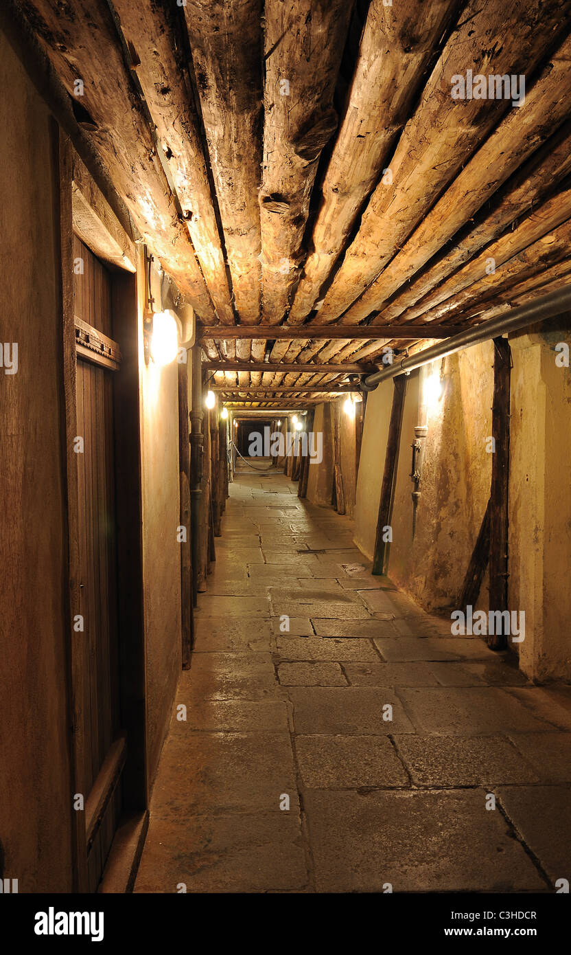 Cellar passageway inside of a brewery - Stock Image