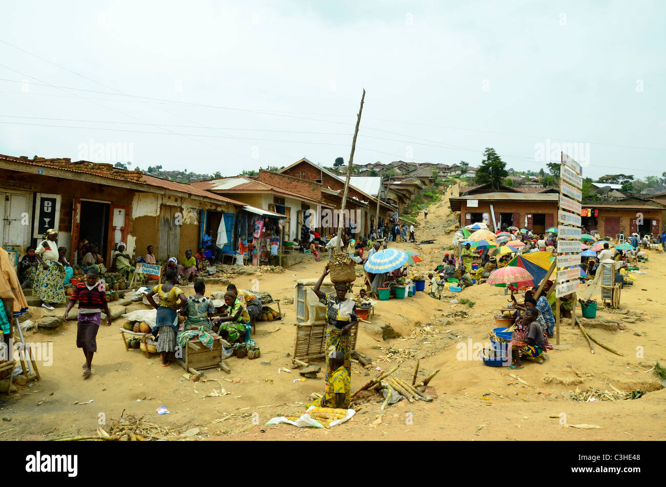 Village scene in Eastern border town of Democratic Republic of Congo in January 2011. - Stock Image