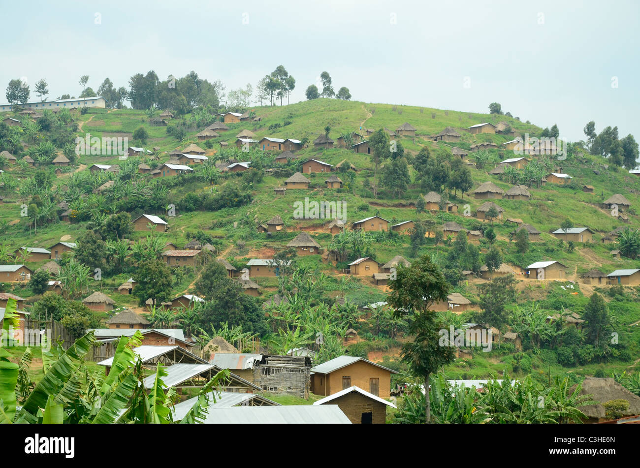African village in hills near Butembo, eastern Democratic Republic of Congo in January 2011. Stock Photo