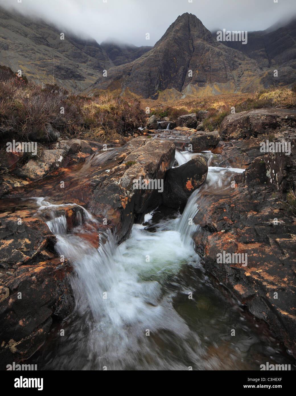 Fairy Pools along Alt Coir a Mhadaidh below Sgurr an Fheadaih in Glen Brittle on the Isle of Skye in Scotland - Stock Image