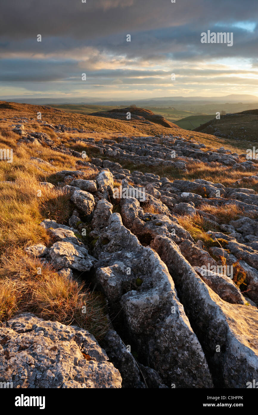 The craggy limestone pavement above Malham in the Yorkshire Dales of England - Stock Image