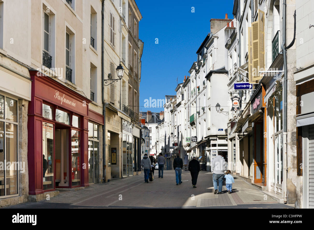 Shops on a street in the old town centre, Blois, Loire Valley, Touraine, France - Stock Image