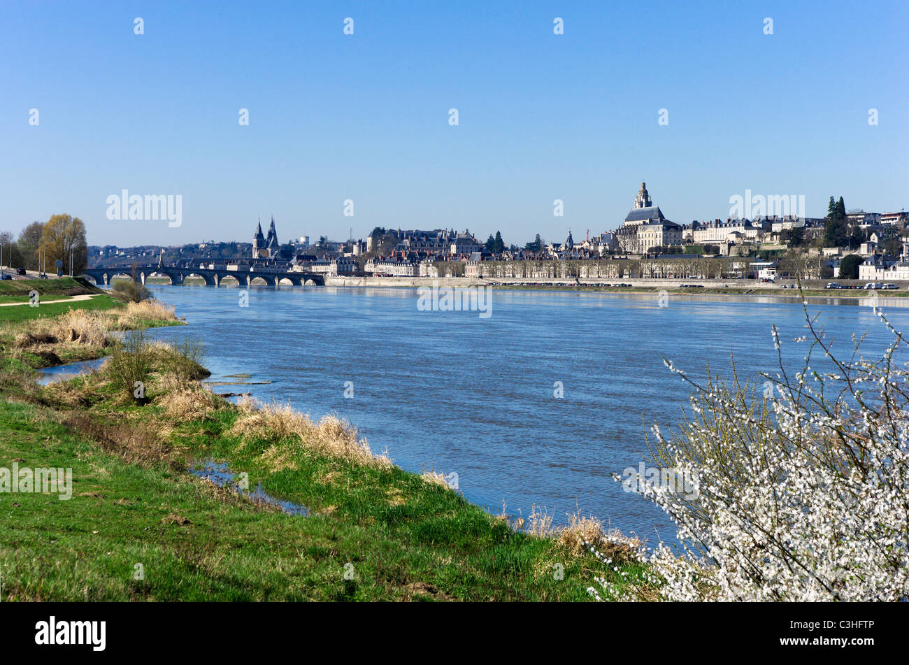 View of the old town from across the River Loire in the spring, Blois, Loire Valley, Touraine, France - Stock Image