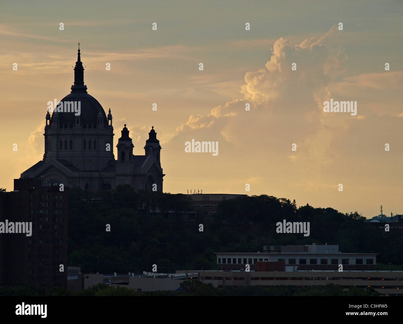 silhouette view of the Cathedral of St. Paul in St. Paul, MN on the evening of July 4th, 2010 - Stock Image