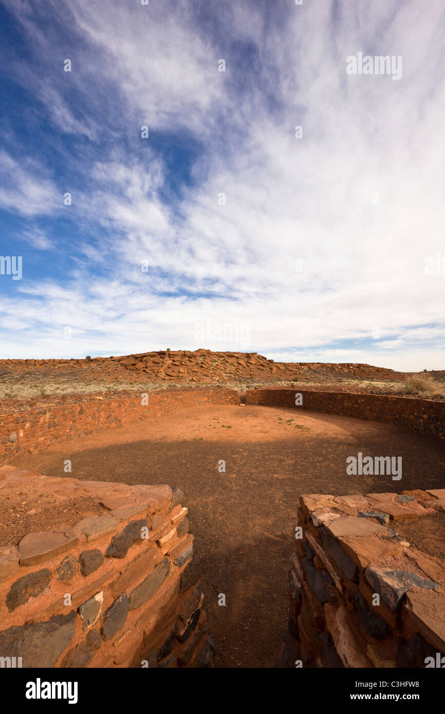 Unique masonry ballcourt at Wupatki Pueblo, used for ceremonies and competitive games, Wupatki National Monument, - Stock Image