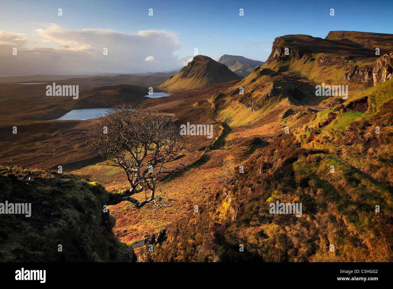 Early spring morning view of the magnificent Quirang on the Isle of Skye, Scotland Stock Photo
