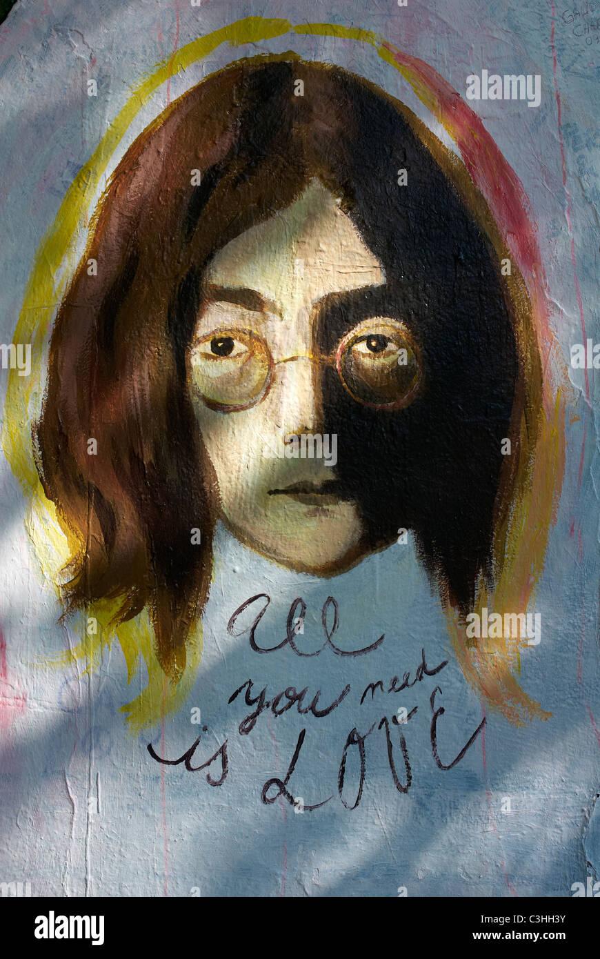 The John Lennon Wall in Prague, Czech Republic - Stock Image