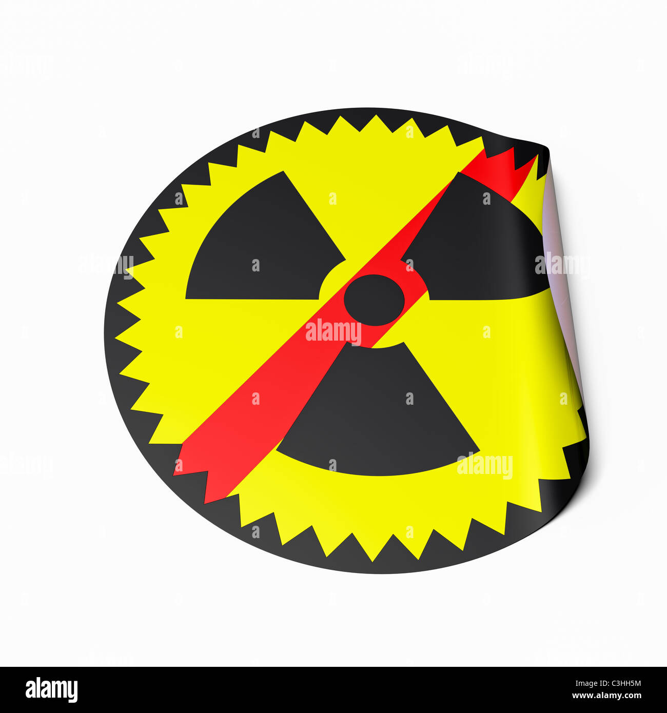 High resolution image of a sticker with crossed out radioactive symbol. Conceptual image for nuclear power phaseout. Stock Photo