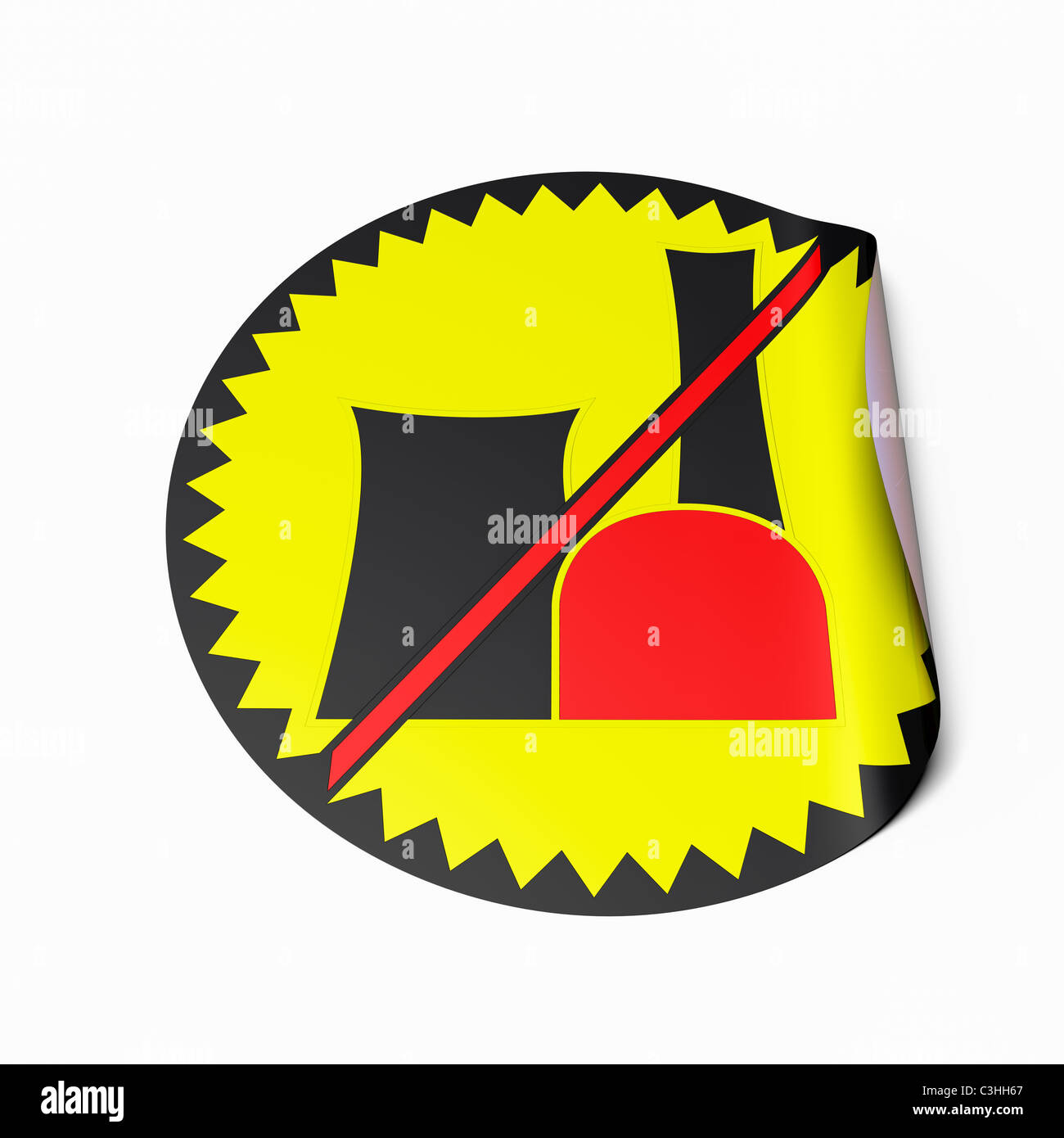 High resolution image of a sticker with crossed out radioactive symbol. Conceptual image for nuclear power phaseout. - Stock Image