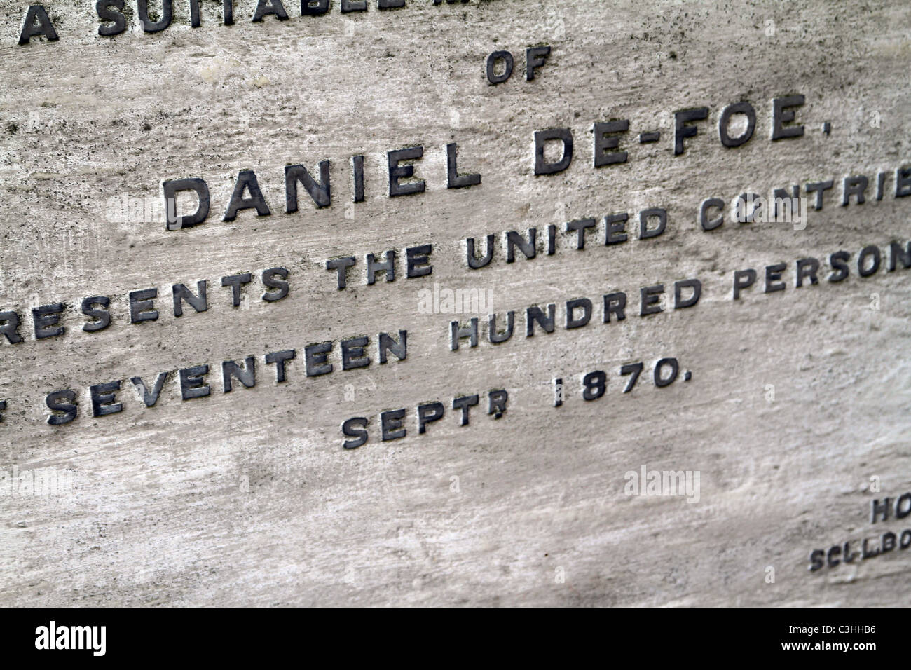 Gravestone of Daniel Defoe at Bunhill Fields Burial Ground in the City of London - Stock Image