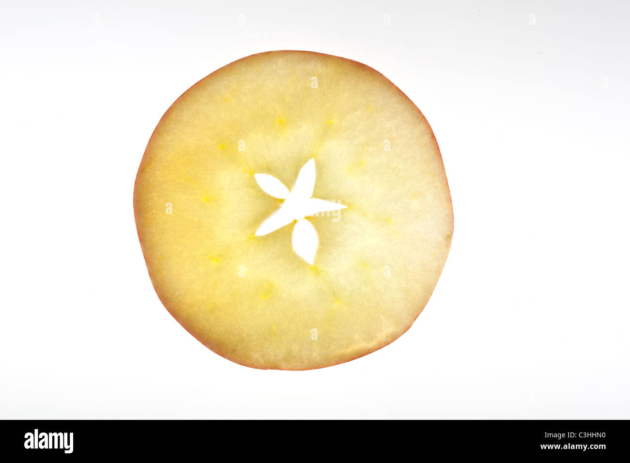round slice of apple - Stock Image