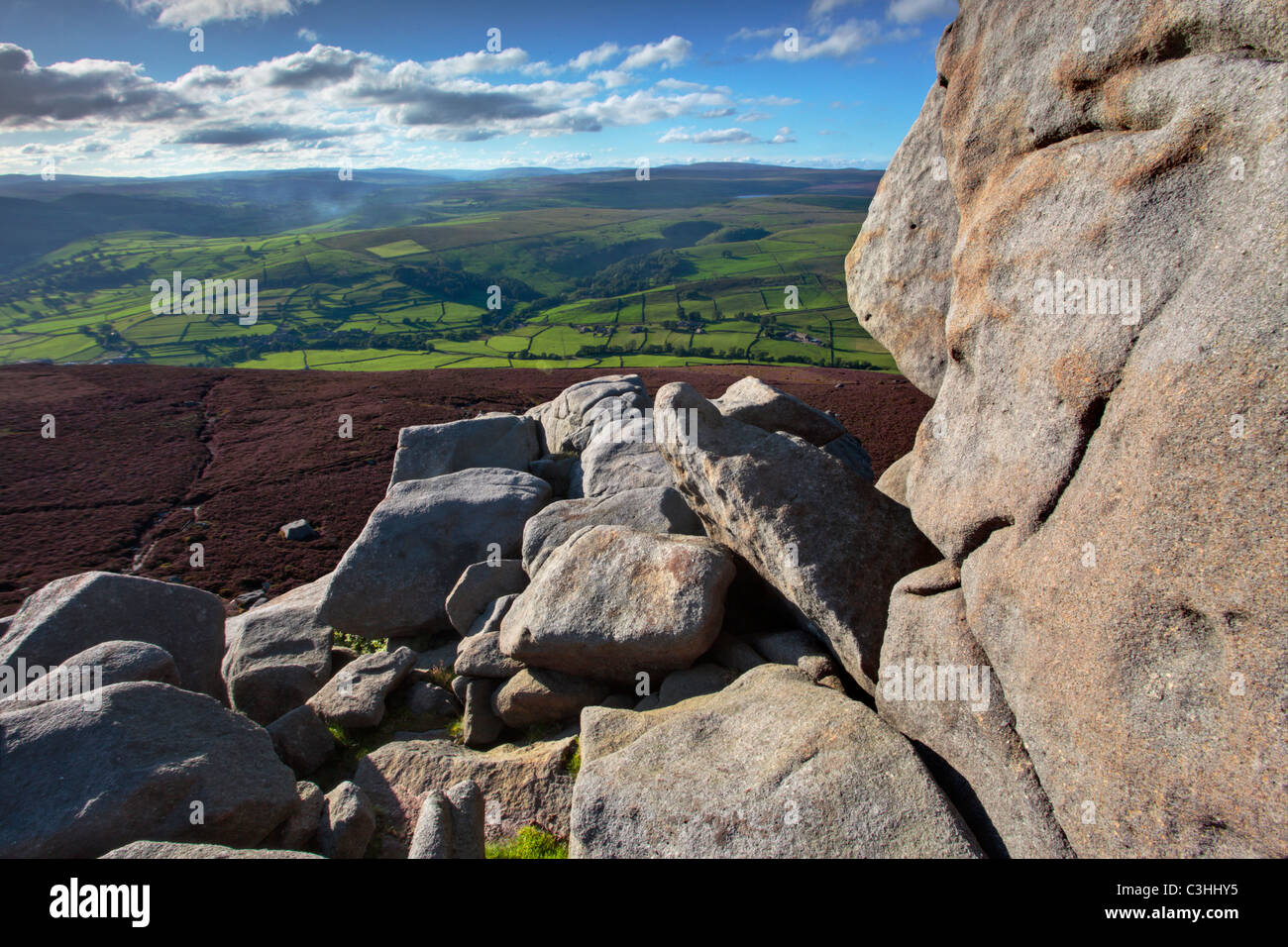 View of Wharfedale and Appletreewick from Simons Seat in Yorkshire, England - Stock Image