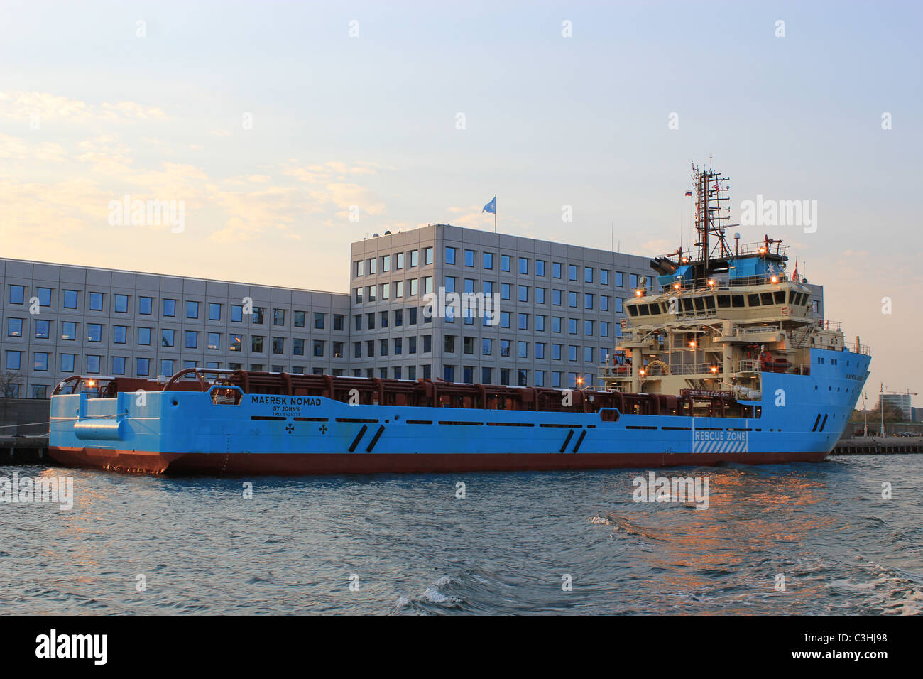 Mærsk  headquarters in Copenhagen with a tanker front of it Stock Photo