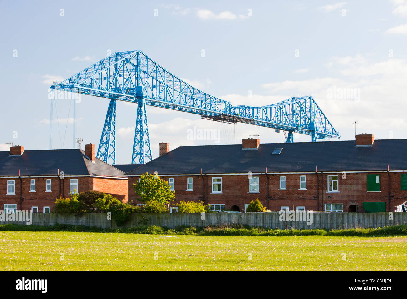 The Middlesbrough Transporter Bridge across the river Tees. - Stock Image