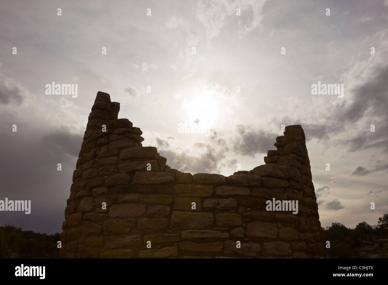 Tower silhouette at the Cutthroat Castle Group in Hovenweep National Monument in southern Utah, USA. Stock Photo