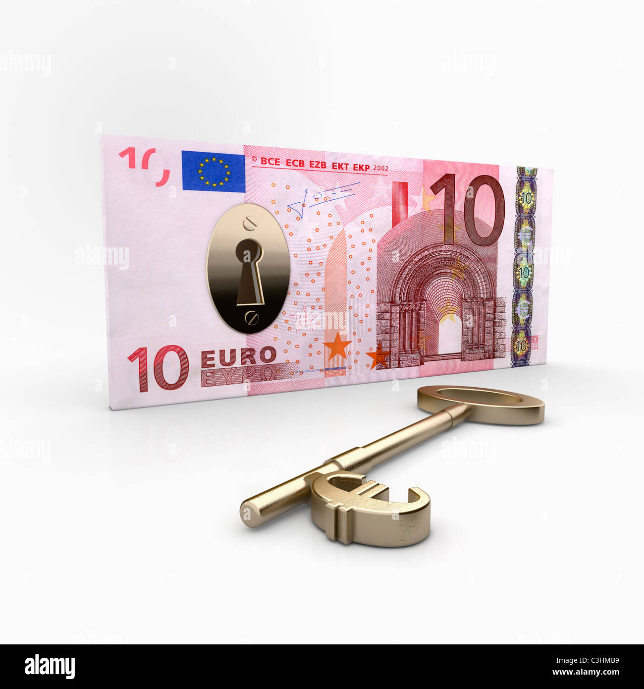 Ten Euro banknote with lock inside, key with Euro symbol laying beside - Stock Image