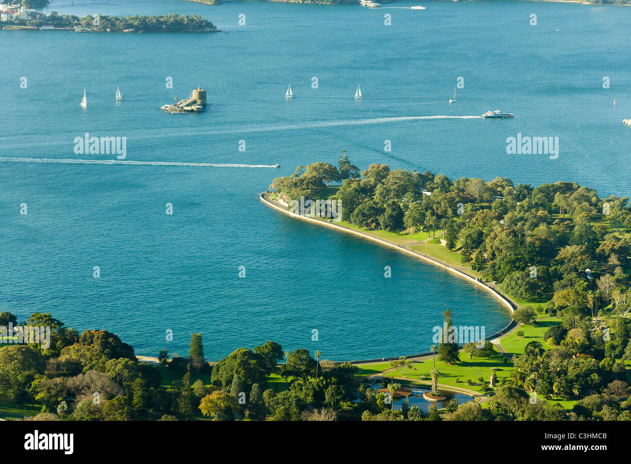 Sydney NSW Australia, aerial view of Farm Cove, Royal Botanic Gardens, Mrs Macquaries Chair and Fort Denison. - Stock Image