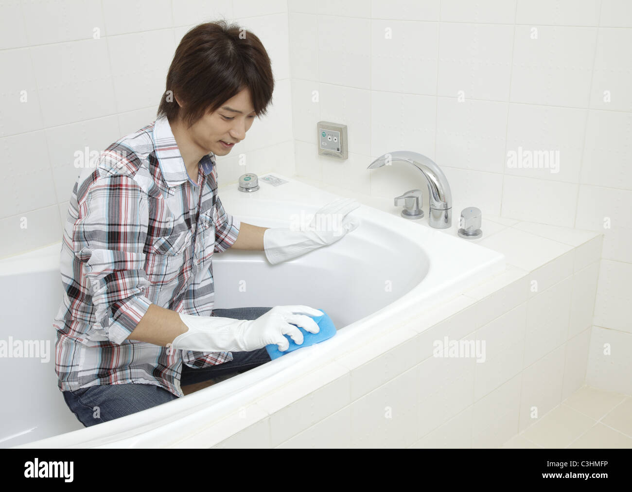 Man Cleaning Bathroom Stock Photo Alamy - Bathroom cleaner person