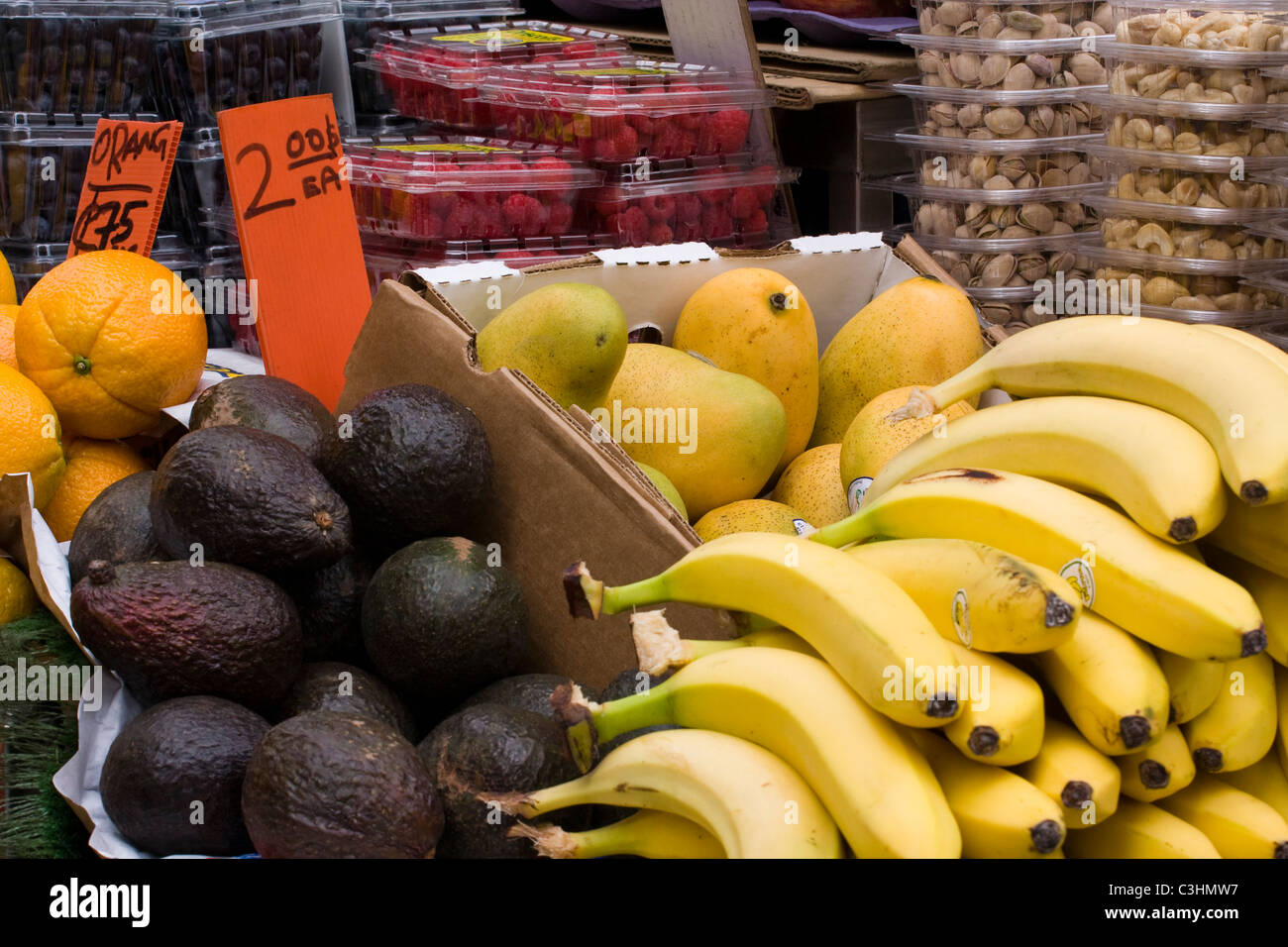 Fresh Fruit and Nuts for sale. Stock Photo