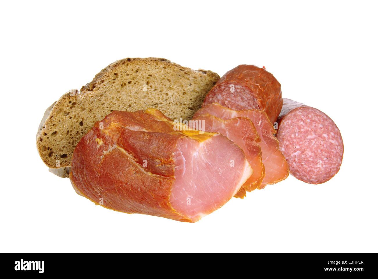 Schinken Brot Salami - ham bread salami 03 - Stock Image