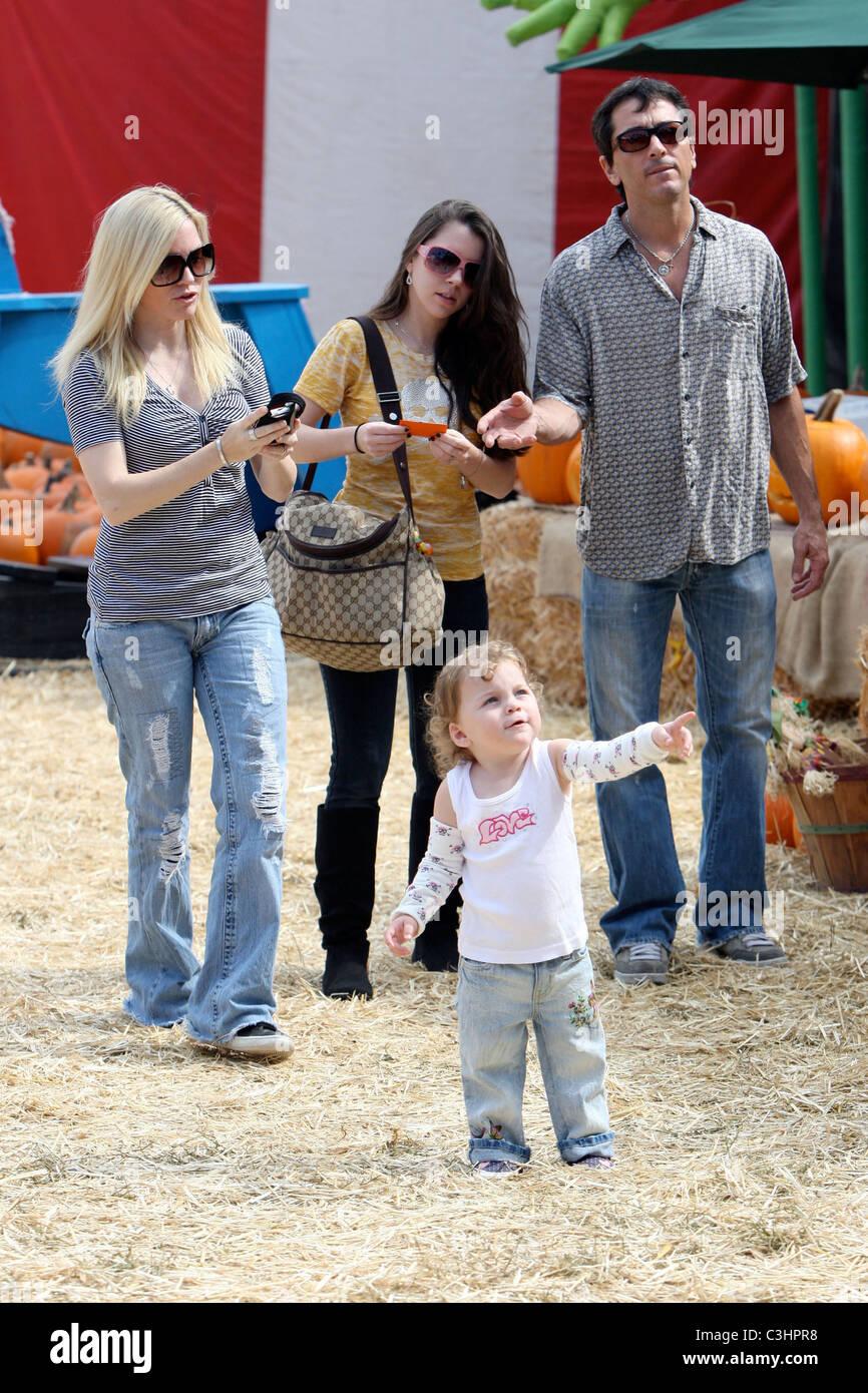 Scott Baio, wife Renee Sloan with their daughters visit Mr. Bones Pumpkin  Patch West