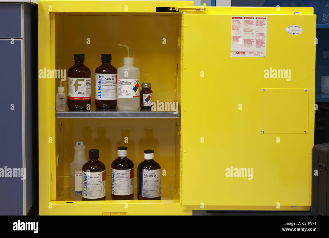 Flammable chemicals cabinet - Stock Image
