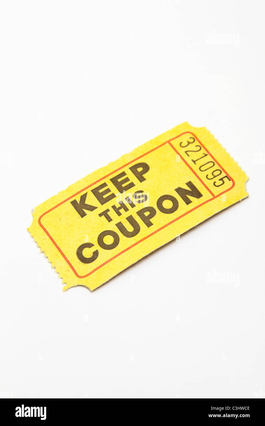 Raffle ticket - Stock Image
